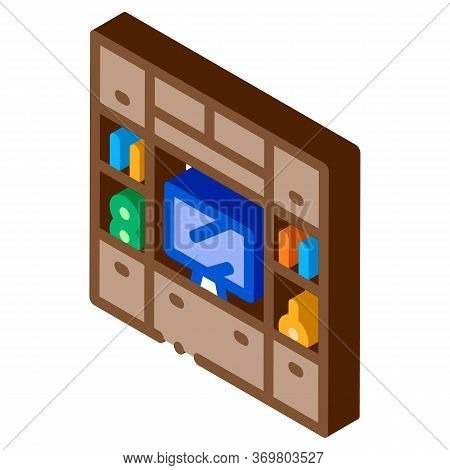 Workplace With Computer Icon Vector. Isometric Workplace With Computer Sign. Color Isolated Symbol I
