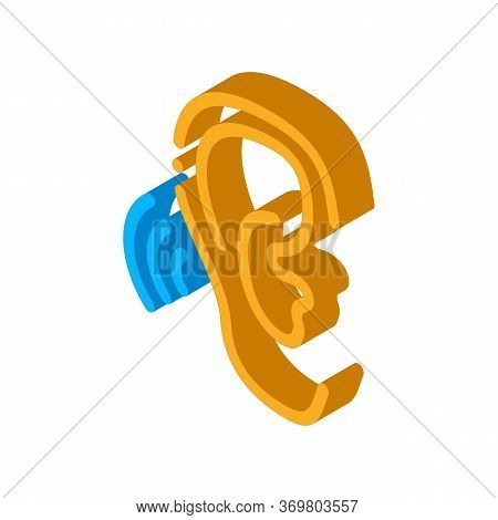 Hears Sound Icon Vector. Isometric Hears Sound Sign. Color Isolated Symbol Illustration