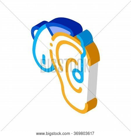 Hearing Aid Icon Vector. Isometric Hearing Aid Sign. Color Isolated Symbol Illustration