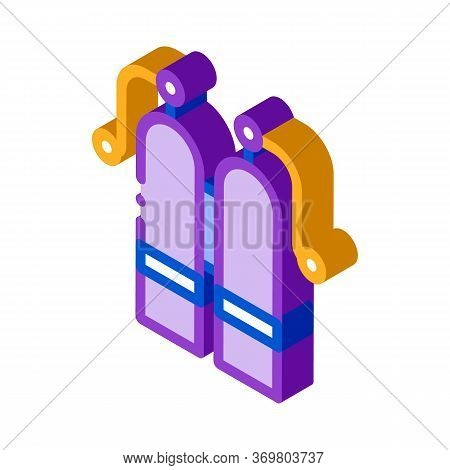 Oxygen Cylinder Icon Vector. Isometric Oxygen Cylinder Sign. Color Isolated Symbol Illustration