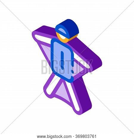Skier Icon Vector. Isometric Skier Sign. Color Isolated Symbol Illustration