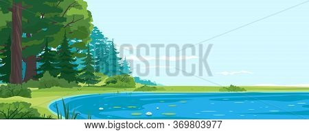 Scenic Fishing Place On Lake Nature Landscape, Quiet Scenic Place For Outdoor Recreation, Place For