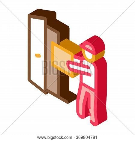 Courier With Box Enters Door Icon Vector. Isometric Courier With Box Enters Door Sign. Color Isolate
