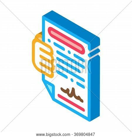 Courier Agreement Icon Vector. Isometric Courier Agreement Sign. Color Isolated Symbol Illustration