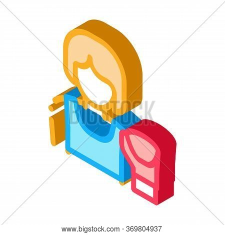 Boxer Woman Icon Vector. Isometric Boxer Woman Sign. Color Isolated Symbol Illustration
