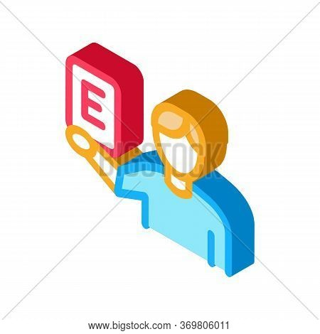 Man Show Letter Icon Vector. Isometric Man Show Letter Sign. Color Isolated Symbol Illustration