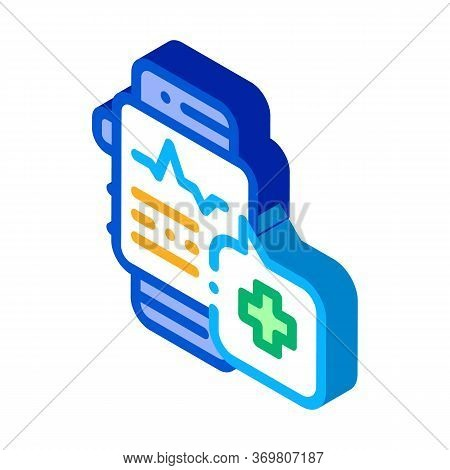 Heartbeat Watch Icon Vector. Isometric Heartbeat Watch Sign. Color Isolated Symbol Illustration