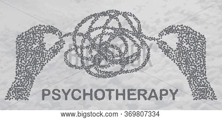 Psychotherapy Concept Illustration With Hands Untangling Messy Snarl Knot, Vector Illustration With