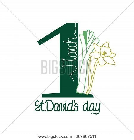 St. David Day Card With Daffodils And Leeks. Vector Illustration. Wales National Holiday. March, 1st
