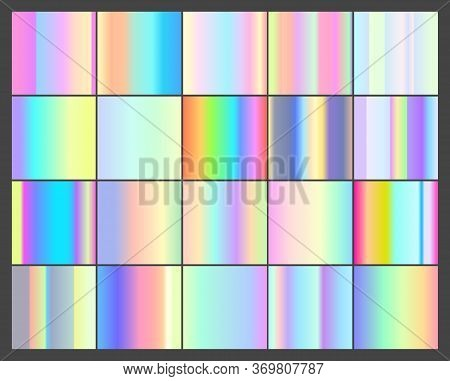 Set Of Vector 20 Holographic Linear Gradients. Squeres With In The Pale Purple, Pink, Yellow, Green