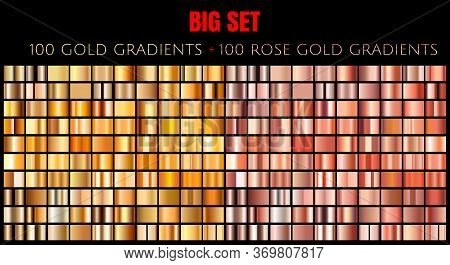 Vector Big Set Of 100 Gold And Pink Rose Gold Gradients. Golden And Rose Rectangle Collection Of 200