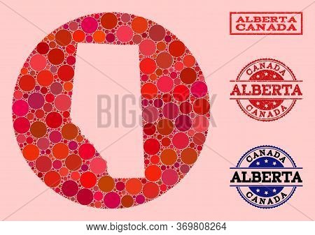 Vector Map Of Alberta Province Collage Of Round Items And Red Grunge Stamp. Stencil Circle Map Of Al