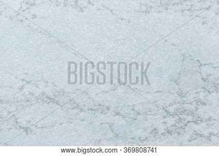 Texture Of Light Blue Marble With Pattern, Macro Background. Pastel Steel Color Stone Backdrop From