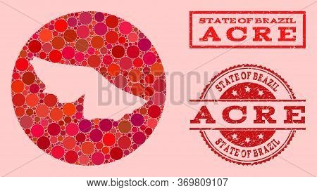 Vector Map Of Acre State Mosaic Of Circle Elements And Red Scratched Seal Stamp. Hole Circle Map Of