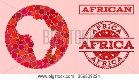 Vector Map Of Africa Mosaic Of Circle Spots And Red Scratched Seal Stamp. Stencil Circle Map Of Afri