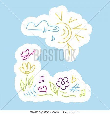 Stickers. Cloud, Notes, Sun, Flower, Butterfly, Rainbow, Musical Notation