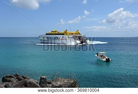 Playa Blanca, Lanzarote, Spain: March 31, 2019: Fred Olsen Canary Island Ferry Sails From Playa Blan
