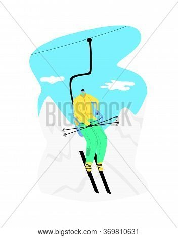 Vector Flat Illustration Happy Man Skier Going Up On Funicular. Concept Ski Resort, Mountains, Winte