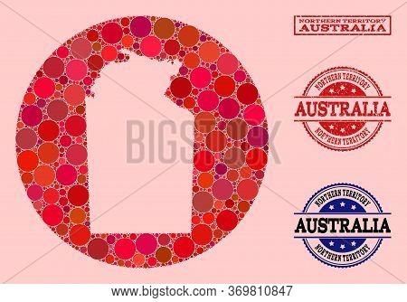 Vector Map Of Australian Northern Territory Collage Of Round Elements And Red Watermark Stamp. Subtr