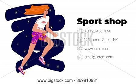 Vector Flat Illustration Layout, Template Business Card For Sports Store, School For Athletes, Runne