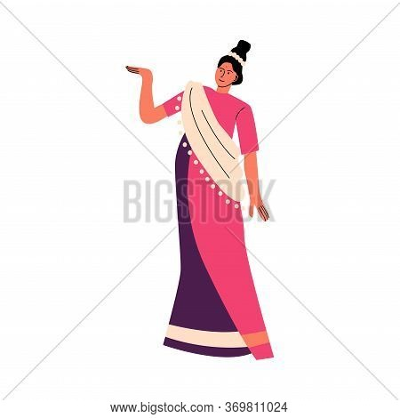 Indian Woman In Traditional Bright Sari Dancing And Celebrating Holiday