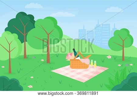 Vector Flat Illustration Of Outdoor Picnic In Urban Park On Cityscape Background. Basket With Flower