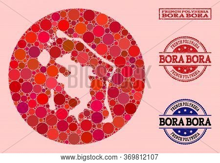 Vector Map Of Bora-bora Collage Of Round Spots And Red Watermark Seal Stamp. Stencil Circle Map Of B