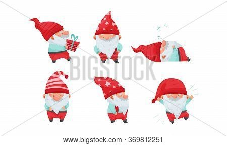 Fantastic Gnome Or Dwarf Character With Red Hat And White Beard Sleeping And Carrying Gift Box Vecto