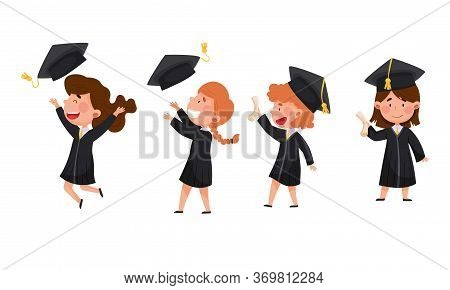 Girls Characters Wearing Academic Dresses Or Gown And Square Academic Cap Cheering About Graduation