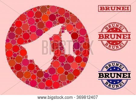 Vector Map Of Brunei Collage Of Round Elements And Red Grunge Seal Stamp. Hole Circle Map Of Brunei