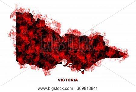 Victoria Map Fire On White Background. Bushfire In Australia Wilderness. Save Australia Concept. Ser