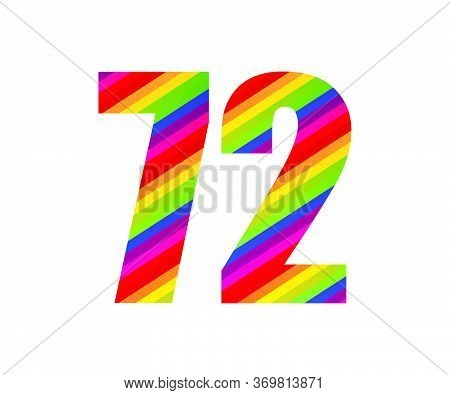 72 Number Rainbow Style Numeral Digit. Colorful Seventy Two Number Vector Illustration Design Isolat