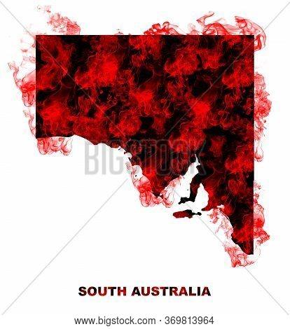 South Australia Map Fire On White Background. Bushfire In Australia Wilderness. Save Australia Conce