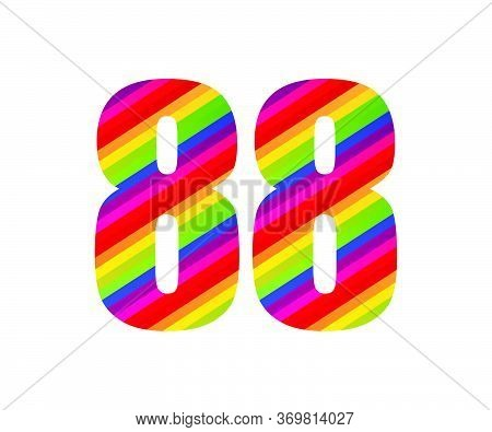 88 Number Rainbow Style Numeral Digit. Colorful Eighty Eight Number Vector Illustration Design Isola