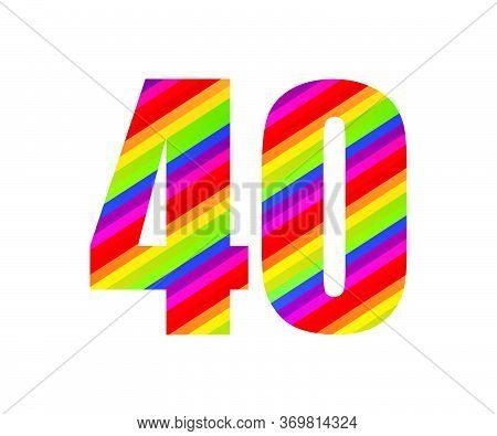 40 Number Rainbow Style Numeral Digit. Colorful Forty Number Vector Illustration Design Isolated On