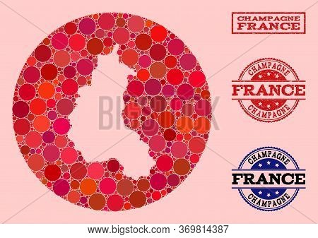 Vector Map Of Champagne Province Collage Of Round Blots And Red Watermark Stamp. Subtraction Round M