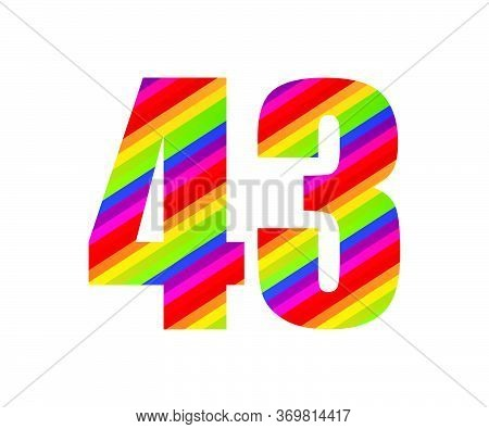 43 Number Rainbow Style Numeral Digit. Colorful Forty Three Number Vector Illustration Design Isolat