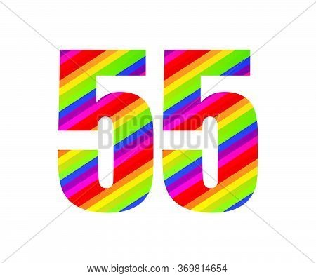 55 Number Rainbow Style Numeral Digit. Colorful Fifty Five Number Vector Illustration Design Isolate