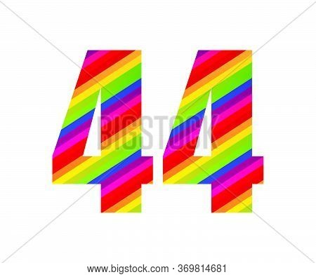 44 Number Rainbow Style Numeral Digit. Colorful Forty Four Number Vector Illustration Design Isolate