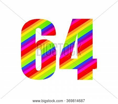 64 Number Rainbow Style Numeral Digit. Colorful Sixty Number Vector Illustration Design Isolated On