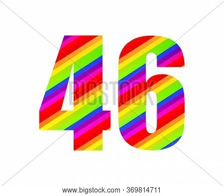 46 Number Rainbow Style Numeral Digit. Colorful Forty Six Number Vector Illustration Design Isolated
