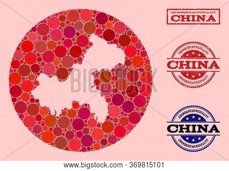 Vector Map Of Chongqing Municipality Collage Of Spheric Dots And Red Scratched Stamp. Subtraction Ro