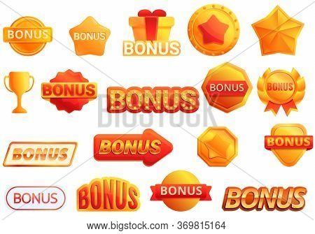 Bonus Icons Set. Cartoon Set Of Bonus Vector Icons For Web Design