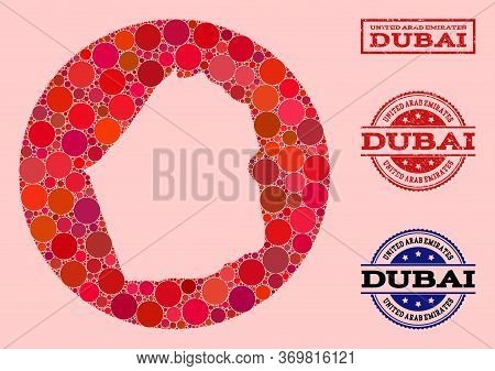 Vector Map Of Dubai Emirate Collage Of Circle Elements And Red Grunge Seal Stamp. Subtraction Circle