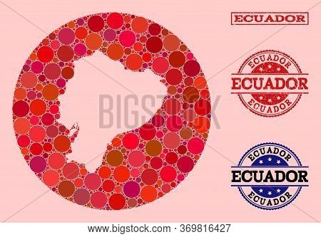 Vector Map Of Ecuador Collage Of Spheric Elements And Red Rubber Stamp. Hole Round Map Of Ecuador Co