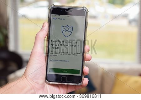St Albans/ United Kingdom - 5 June 2020: Nhs Contact Tracing App On A Phone Screen. The  App Is Due