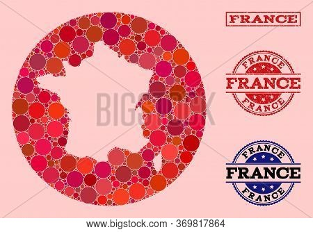Vector Map Of France Collage Of Spheric Spots And Red Scratched Seal. Stencil Circle Map Of France C