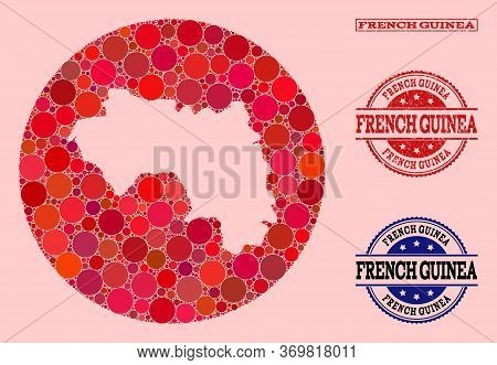 Vector Map Of French Guinea Collage Of Circle Spots And Red Rubber Seal Stamp. Subtraction Circle Ma