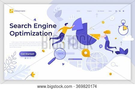 Landing Page Template With Seo Managers Floating Around Pie Chart. Search Engine Optimization, Inter