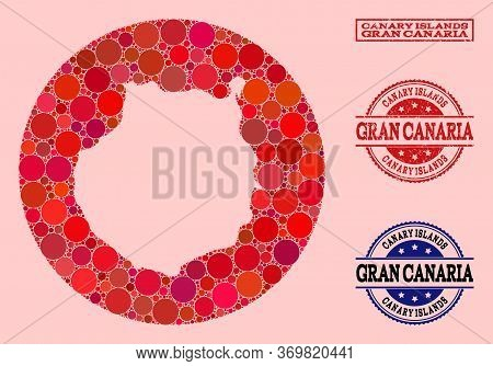 Vector Map Of Gran Canaria Collage Of Round Items And Red Grunge Seal Stamp. Hole Round Map Of Gran